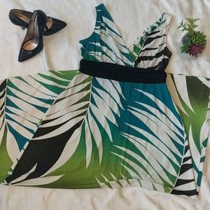 Roz & Ali long v neck tropical dress sz 14